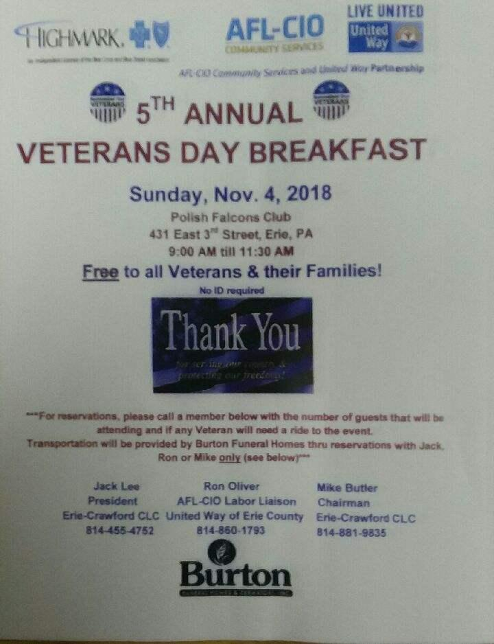 5th Annual Veteran's Day Breakfast