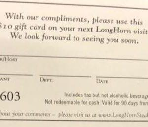 Gift Card - Longhorn Steakhouse