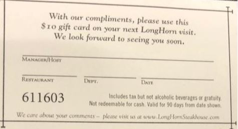 $10 Gift card Longhorn Steak