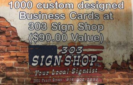 cert for 1,000 Custom Business Cards