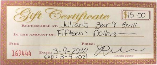 $15 Gift Certificate Julian's Bar & Grill