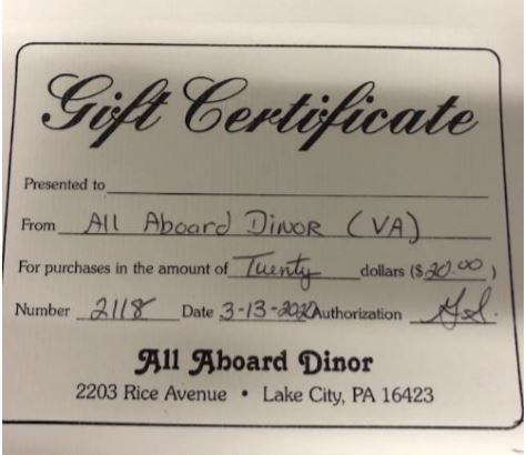 $20 Gift Certificate-All Aboard Dinor