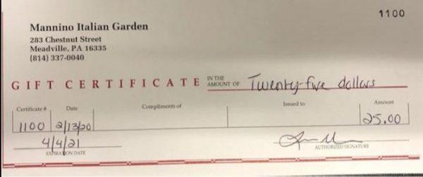 $25 Gift Certificate Italian Garden