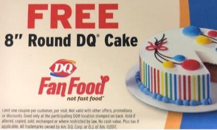 "8"" Frozen DQ Cake Certificate (exp."