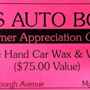 Gift Certificate. For Hand Car Wax and Vacuum