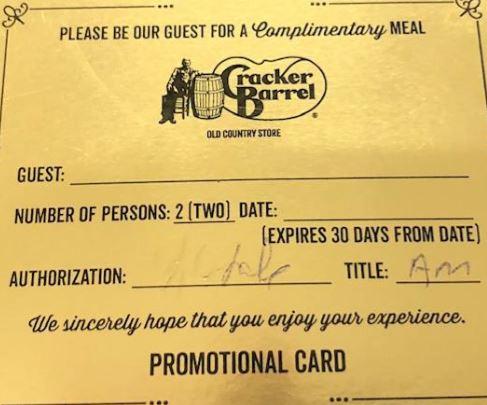 Gold Certificate for 2 Meals - Cracker Barrel